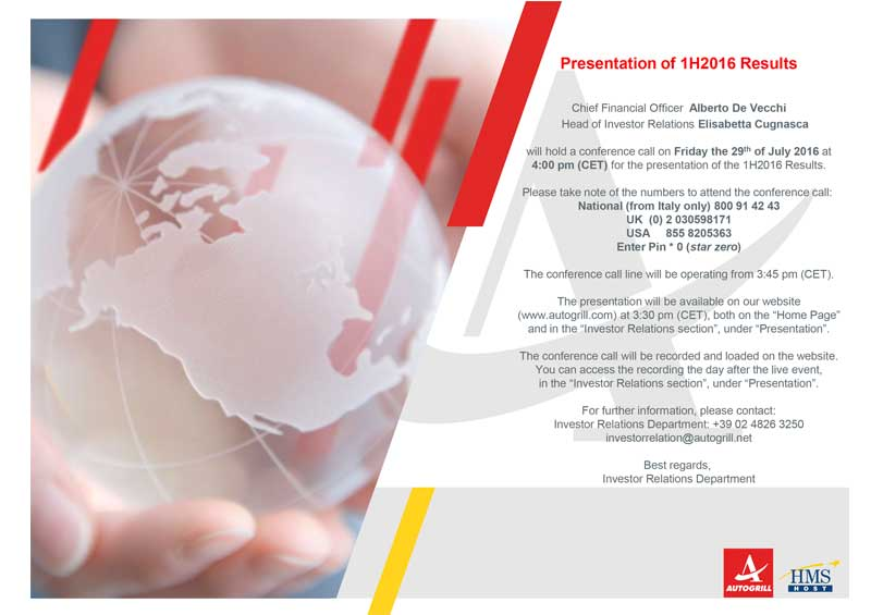 Presentation 1H2016 Results - Autogrill